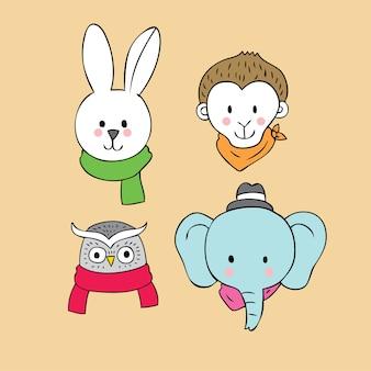 Vector de dibujos animados cara linda animales.