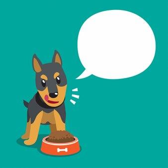 Vector de dibujos animados carácter doberman perro y bocadillo blanco
