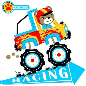 Vector de dibujos animados de carreras de camiones monstruo