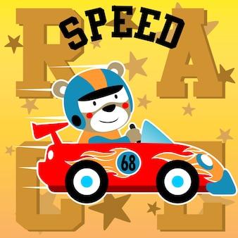 Vector de dibujos animados de carreras de coches