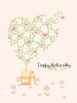 Vector de dibujos animados casa y flores en forma de corazón con caligrafía feliz día de las madres sobre fondo floral