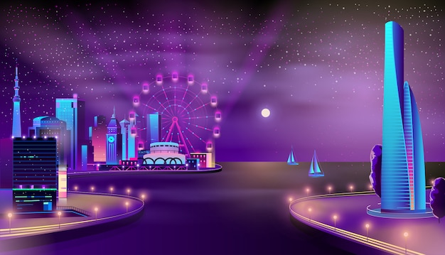 Vector de dibujos animados de ciudad moderna muelle noche paisaje