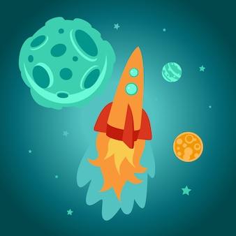 Vector de dibujos animados cohete espacial