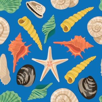 Vector de dibujos animados conchas de mar patrón o ilustración de fondo
