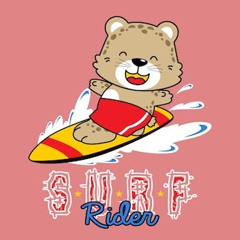 Vector de dibujos animados divertido animal surfista