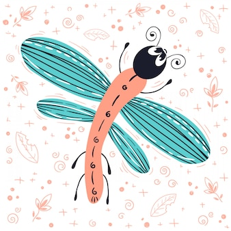 Vector de dibujos animados error o escarabajo