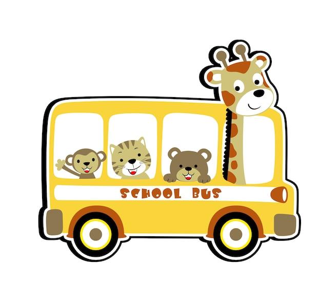Vector de dibujos animados de escuela de autobús de animales