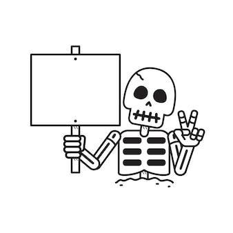 Vector de dibujos animados esqueleto con signo