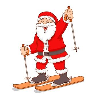 Vector de dibujos animados de esquí de santa claus.