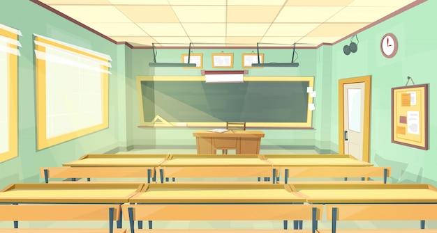 Vector de dibujos animados de fondo. aula vacía de la escuela
