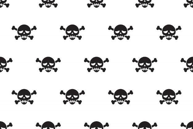 Vector de dibujos animados de fondo sin fisuras patrón de cráneo y hueso