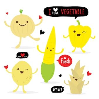 Vector de dibujos animados fresco de comida vegetal