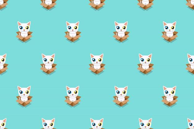Vector de dibujos animados gato blanco en caja de cartón de patrones sin fisuras