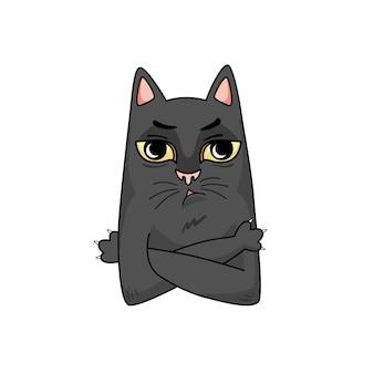 Vector de dibujos animados gato negro insatisfecho. brazos cruzados sobre el pecho.