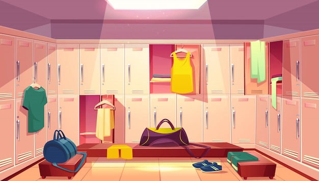 Vector de dibujos animados gimnasio de la escuela con armario, vestuario con armarios abiertos y ropa para el fútbol
