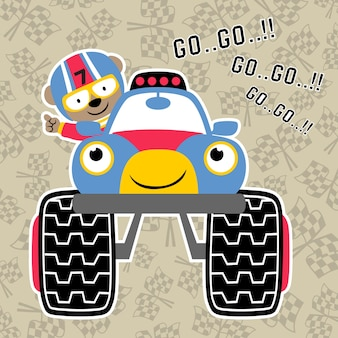 Vector de dibujos animados de gran camión racer