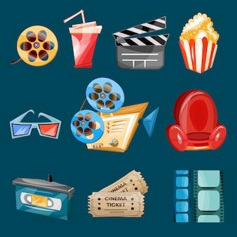 Vector de dibujos animados de iconos de película de cine