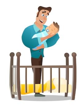 Vector de dibujos animados ilustración concepto feliz padre