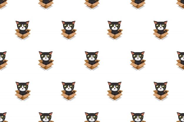 Vector de dibujos animados ilustración gato en caja de cartón de patrones sin fisuras