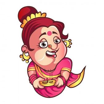 Vector de dibujos animados iyer aunty ji illustration