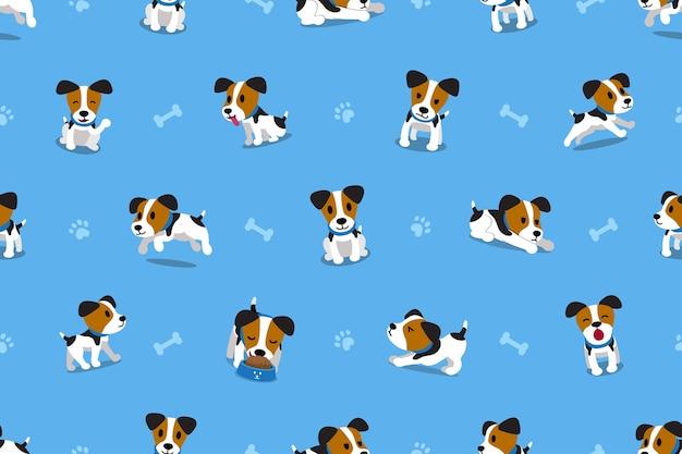 Vector de dibujos animados jack russell terrier perro de patrones sin fisuras
