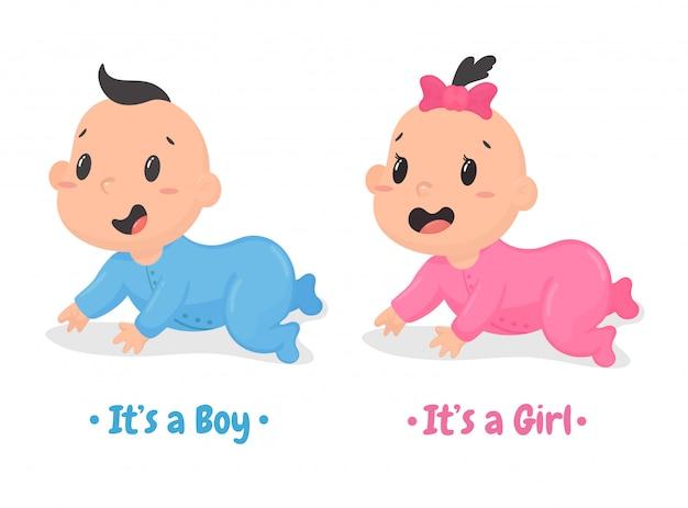 Vector de dibujos animados lindo bebé niños y niñas que se arrastran felizmente