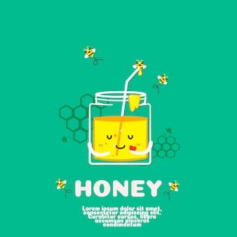 Vector de dibujos animados lindo botella de miel. concepto de comida kawaii.