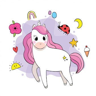 Vector de dibujos animados lindo dulce unicornio doodle.