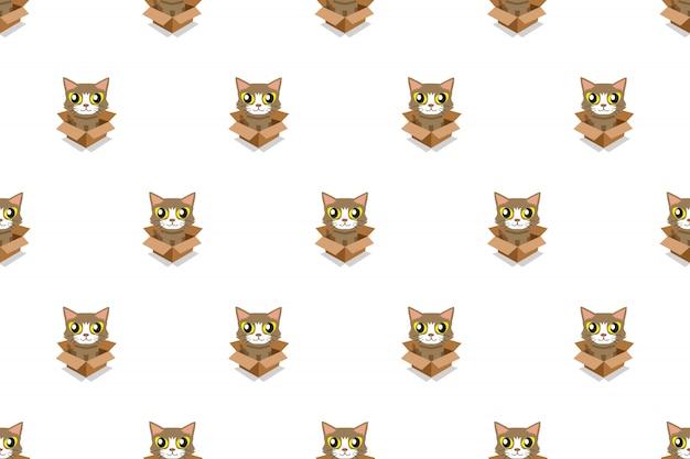 Vector de dibujos animados lindo gato en caja de cartón de patrones sin fisuras