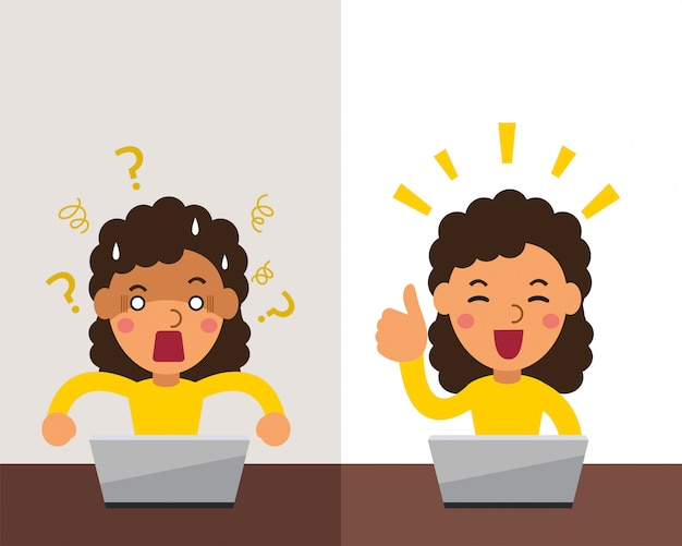 Vector de dibujos animados mujer expresando diferentes emociones