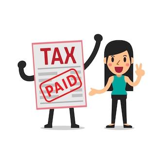 Vector de dibujos animados una mujer paga impuestos