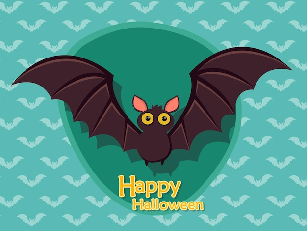 Vector de dibujos animados de murciélago halloween sobre fondo.ilustración de vector.