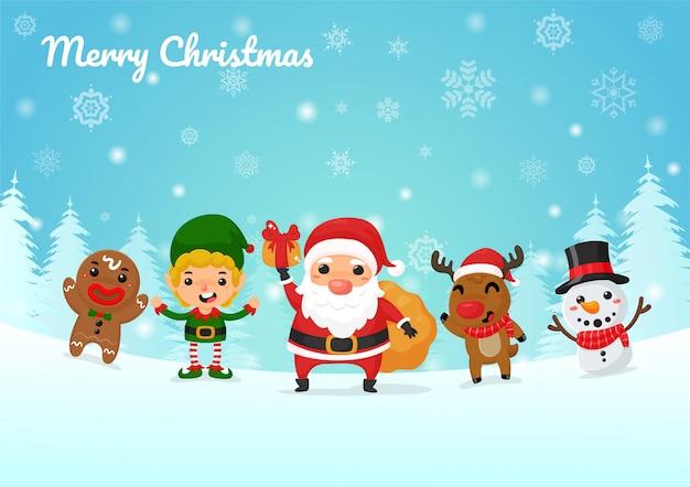 Vector de dibujos animados de navidad los personajes de dibujos animados de santa claus, renos, duendes y muñecos de nieve dan regalos de navidad.