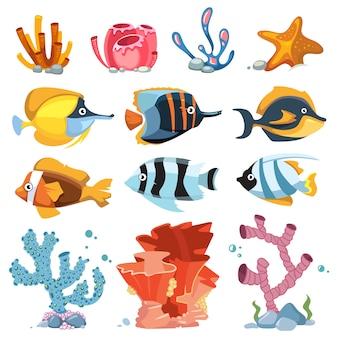 Vector de dibujos animados objetos de decoración de acuario - plantas bajo el agua, peces brillantes