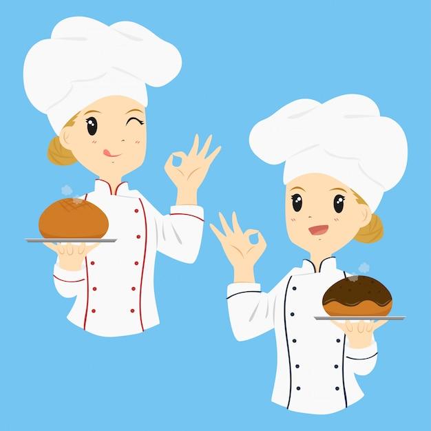 Vector de dibujos animados de panadero de mujer