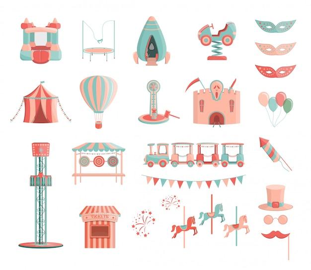Vector de dibujos animados parque de atracciones monta conjunto de iconos.