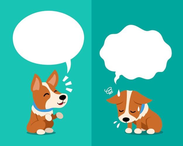 Vector de dibujos animados perro corgi expresando diferentes emociones