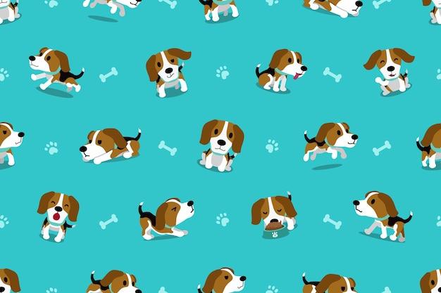 Vector de dibujos animados personaje beagle perro de patrones sin fisuras