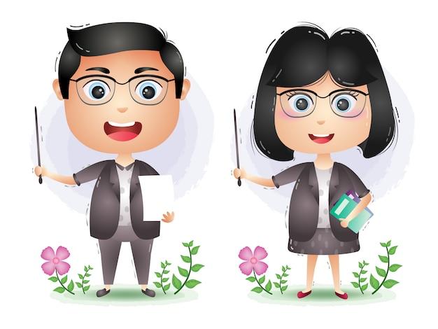 Un vector de dibujos animados de personaje de pareja linda maestra