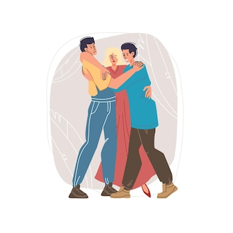 Vector de dibujos animados personajes planos amigos felices abrazándose unos a otros, equipo amistoso jóvenes -comunicación, emociones, amistad, concepto social