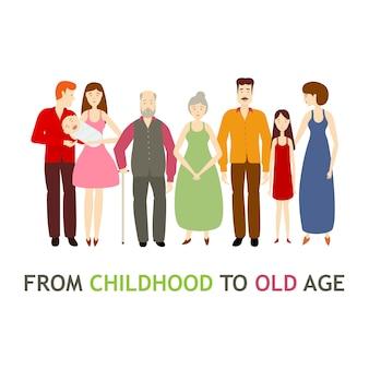 Vector de dibujos animados plana completa grandes personajes familiares