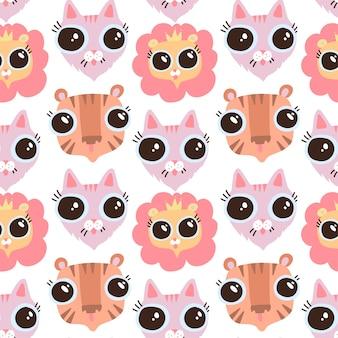 Vector de dibujos animados plano divertido gato, liom y tigre cabezas de patrones sin fisuras. fondo plano felino. caras con ojos grandes.