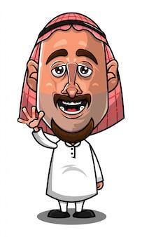 Vector de dibujos animados saludo hombre árabe tradicional