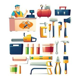 Vector de dibujos animados de surtido de tienda de herramientas de construcción