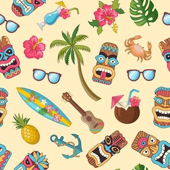 Vector de dibujos animados verano viajes elementos de patrones sin fisuras
