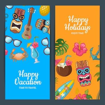 Vector de dibujos animados de verano viajes web banner plantillas ilustración