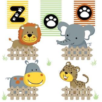 Vector de dibujos animados de zoológico con animales lindos