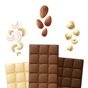 Vector diferentes barras de chocolate blanco, leche y amargo con anacardos, almendras, avellanas vista frontal aislado sobre fondo blanco.