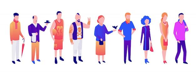 Vector de diferentes personas de edad, jóvenes hombres y mujeres.