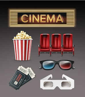 Vector diferentes sillones rojos de cosas de cine, gafas 3d, boletos, balde de palomitas de maíz, parte superior del letrero de cine iluminado, vista lateral aislada sobre fondo oscuro